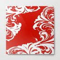 Damask Red and White Holiday Victorian Leaf Pattern by saundramyles