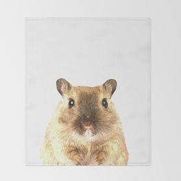 Hamster Portrait Throw Blanket