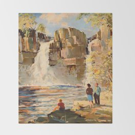 Mid Century Modern Vintage Travel Poster England Landscape Rocky Waterfall Throw Blanket
