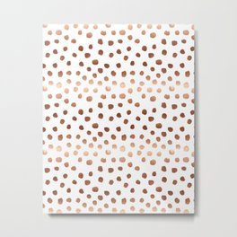 Rose Gold copper sparkle modern dots polka dots rosegold trendy pattern cell phone accessories Metal Print