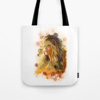 jennifer lawrence Tote Bags featuring Jennifer Lawrence II by Rene Alberto
