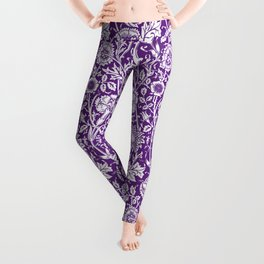 "William Morris Floral Pattern | ""Pink and Rose"" in Purple and White Leggings"