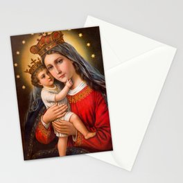 The care of mother's love in oil painting. Stationery Cards
