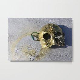 Gold Skeleton Mask, No. 1 Metal Print