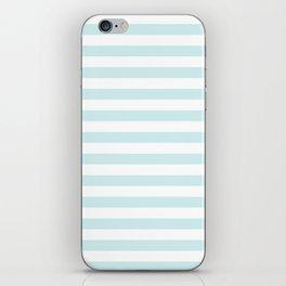 Narrow Horizontal Stripes - White and Light Cyan iPhone Skin