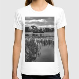 Landscape photograph of Pebley Island in black and white T-shirt