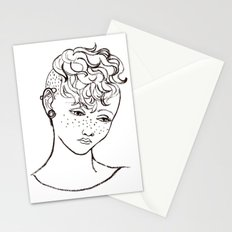 Young girl head Stationery Cards