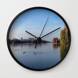 Panorama - Lake in Autumn Wall Clock