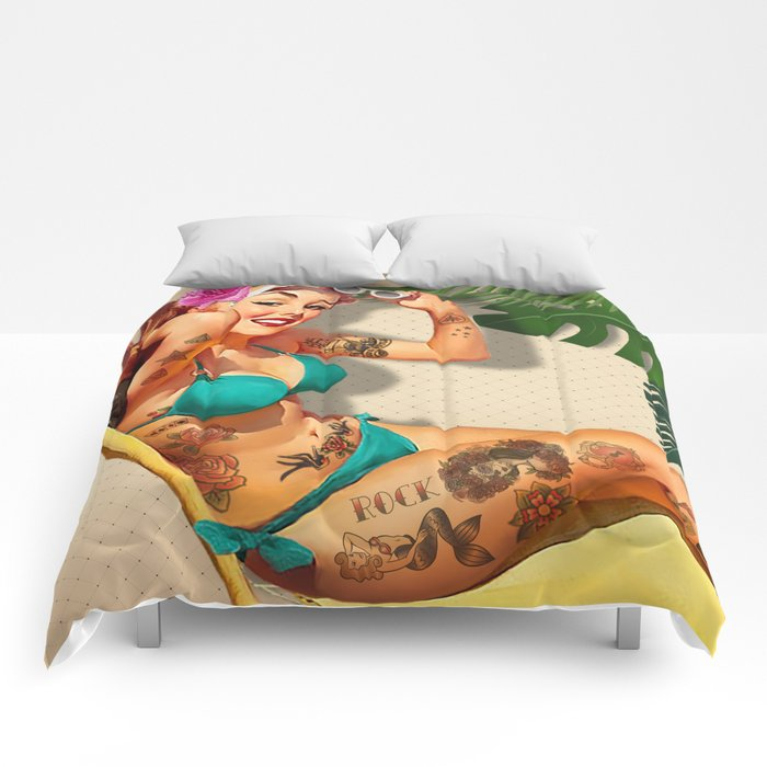 Beach Pin-up Comforters