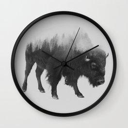 Bison (black & white version) Wall Clock