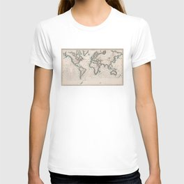 Vintage Map of The Worlds Magnetic Fields (1852) T-shirt