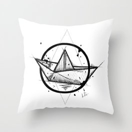 Paper Boat Handmade Drawing, Made in pencil and ink, Tattoo Sketch, Tattoo Flash, Blackwork Throw Pillow