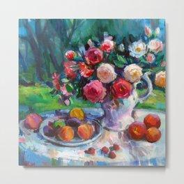 Fruits & Rose Flowers Metal Print