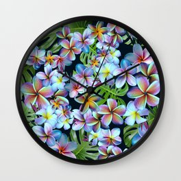 Rainbow Plumeria Dark Wall Clock