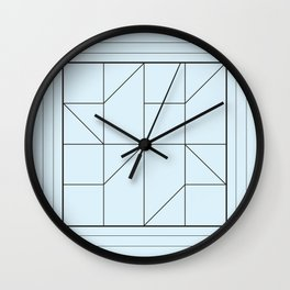 Pale Blue Modern Geometries Wall Clock