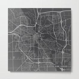Ann Arbor Map, USA - Gray Metal Print