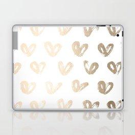 Luxe Gold Hearts on White Laptop & iPad Skin
