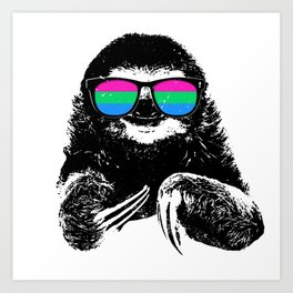Pride Sloth Polysexual Flag Sunglasses Art Print