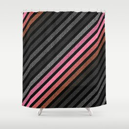 StRiPeS Slate Gray Living Coral Pixels Shower Curtain