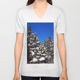 Winter Greens and Blue Sky Unisex V-Neck
