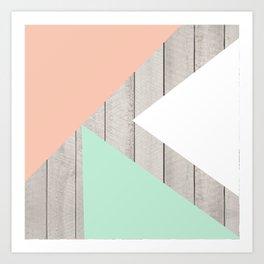 Modern Teal Peach Triangles Color Block on Wood Art Print