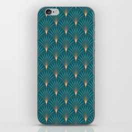 Vintage Art Deco Floral Copper & Teal iPhone Skin
