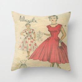 Retro Fashion Coral Throw Pillow
