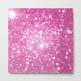 Galaxy Sparkle Stars Orchid Pink Metal Print