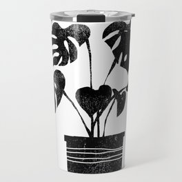 House plant linocut zen yoga black and white minimalist art prints for home Travel Mug