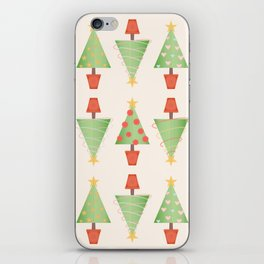 Topiary Christmas Tree Pattern with Stitched Fabric Style iPhone Skin