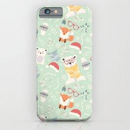 Christmas polar animals pattern 002 iPhone Case