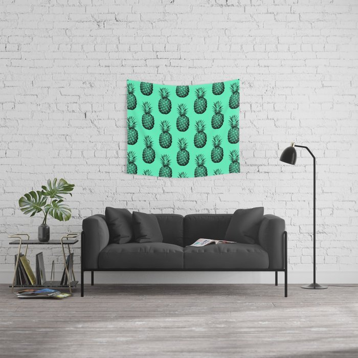 Pineapple! Black on mint green Wall Tapestry