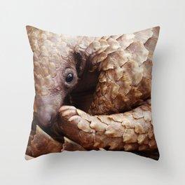 Shy Pangolin Throw Pillow