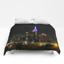 Manhattan by night NYC pixels Comforters