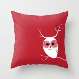 Cherry Blossom Owl Throw Pillow