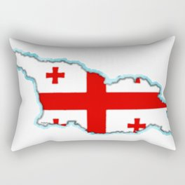 Georgia (Country) Map with Georgian Flag Rectangular Pillow