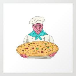 Zombie Chef Holding Pizza Pie Grime Art Art Print