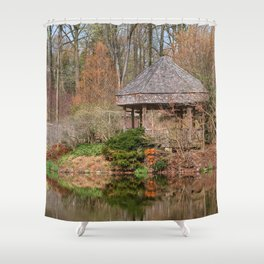 Brookside Bridge & Gazebo Shower Curtain
