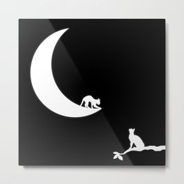 Cat and the Moon Metal Print