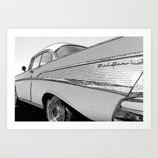 Chevrolet Bel Air 1957 - Pencil Sketch Style Art Print