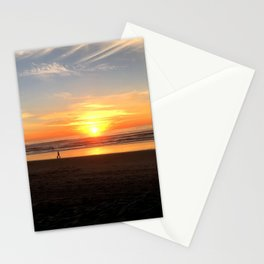 WALKING ON THE BEACH AT SUNSET Stationery Cards