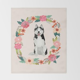 husky floral wreath spring dog breed pet portrait gifts Throw Blanket