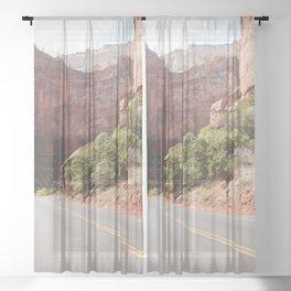 Road Trough Zion National Park Photo   Colors Of Utah Landscape Art Print   USA Travel Photography Sheer Curtain
