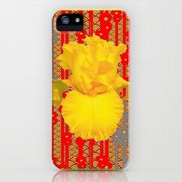 Oriental style Black-red Yellow Iris Pattern Art iPhone Case