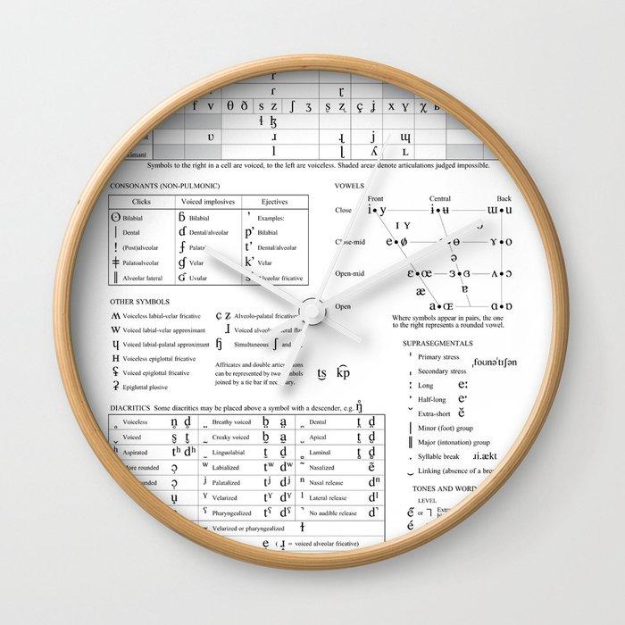International Phonetic Alphabet Ipa Wall Clock By Fabianb Society6