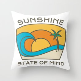 Summer Vacation Quote Sunshine State Mind Palm Trees Ocean design Throw Pillow