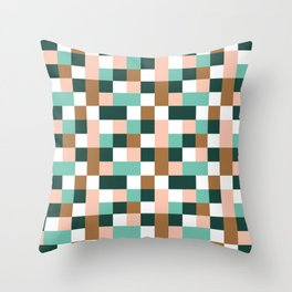 Geometric Tile Pattern in Blush, Bronze and Green Throw Pillow
