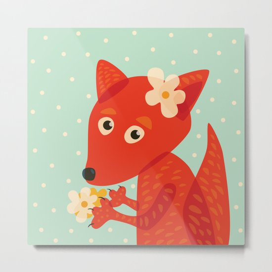 Cute Fox And Flowers Metal Print