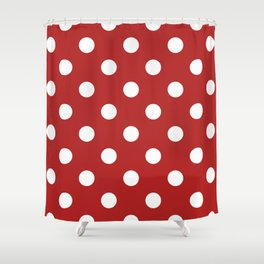 Polka Dots - White on Firebrick Red Shower Curtain