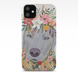 Silver Labrador with Flowers iPhone Case